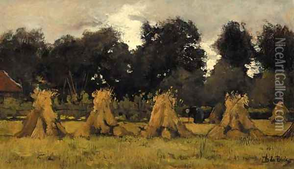 A peasant woman at work among sheaves Oil Painting - Theophile Emile Achille De Bock