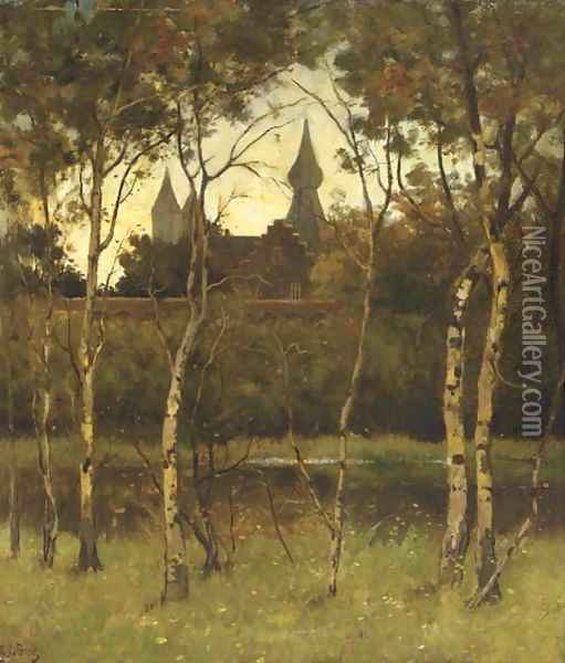A view of castle Doorwerth from the grounds Oil Painting - Theophile Emile Achille De Bock