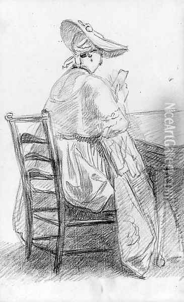 A lady seated on a ladder-backed chair, reading a letter Oil Painting - William Hoare Of Bath