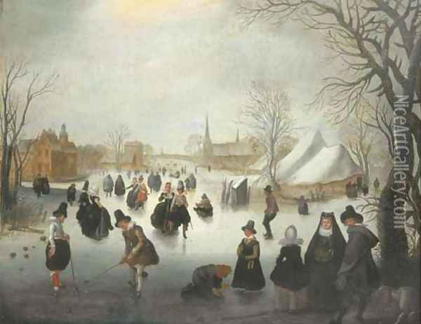A winter landscape with elegant figures skating and playing kolf on a frozen river, a town beyond Oil Painting - Adam van Breen