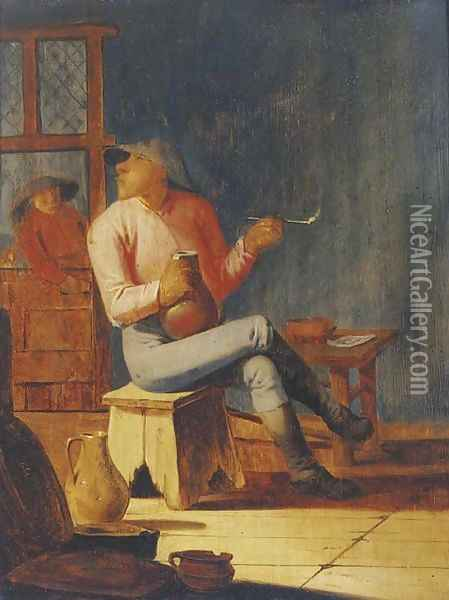 A peasant smoking and drinking in an interior Oil Painting - Adriaen Brouwer
