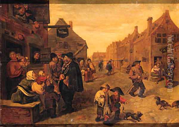 Boors listening to a liereman, outside a shoemaker's workshop, in a village street Oil Painting - Adriaen Brouwer
