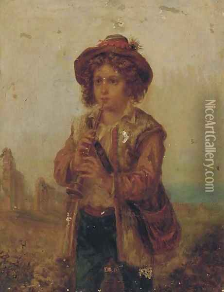 The young musician; and The young weaver Oil Painting - Adriano Bonifazi