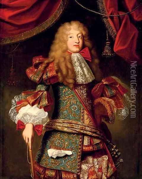Portrait of man, believed to be The Grand Dauphin (1661-1711) Oil Painting - Alexis-Simon Belle