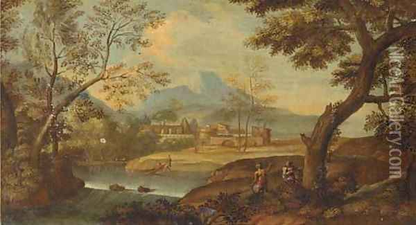 A wooded river landscape with fishermen and other figures Oil Painting - Giovanni Battista Basiri