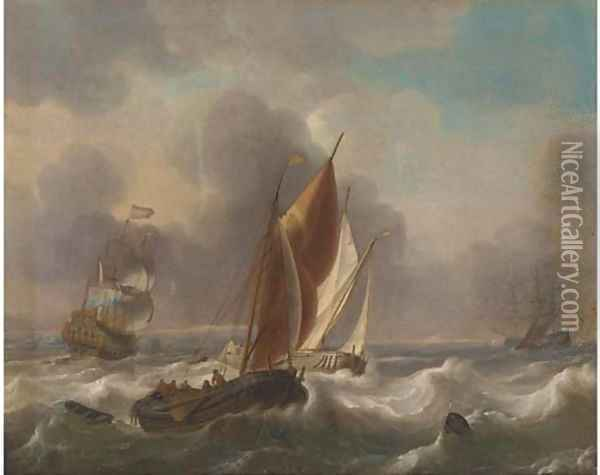 A Dutch man-o'-war and other shipping in choppy seas Oil Painting - Ludolf Backhuysen