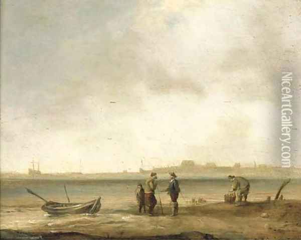 A coastal landscape with fishermen with their catch in the foreground Oil Painting - Ludolf Backhuysen