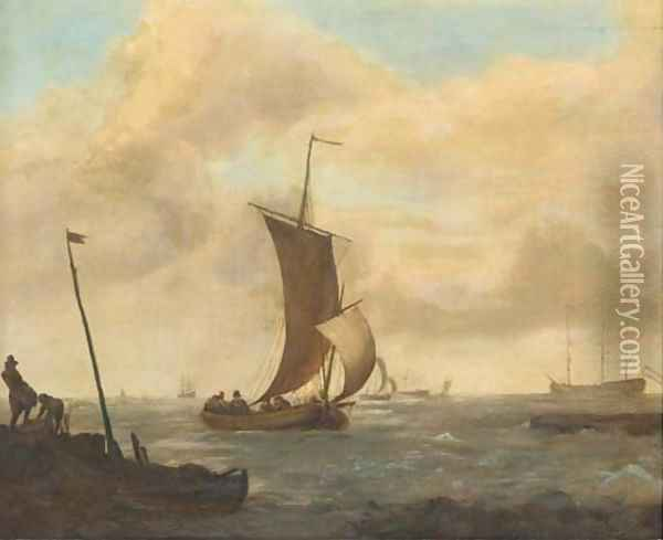 A coastal landscape with shipping in choppy waters Oil Painting - Ludolf Backhuysen