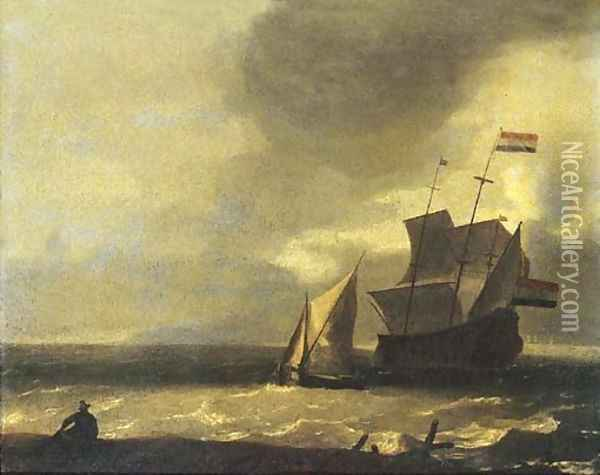 A fisherman on the beach watching a three-master and a smalschip in a gale Oil Painting - Ludolf Backhuysen