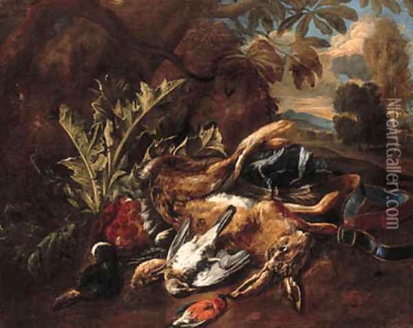 A hunting still life with a hare, a mallard and songbirds in a landscape Oil Painting - Bernaert De Bridt