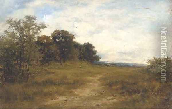 On the hill, Alkham, Kent, a sketch from nature Oil Painting - Carl Brennir