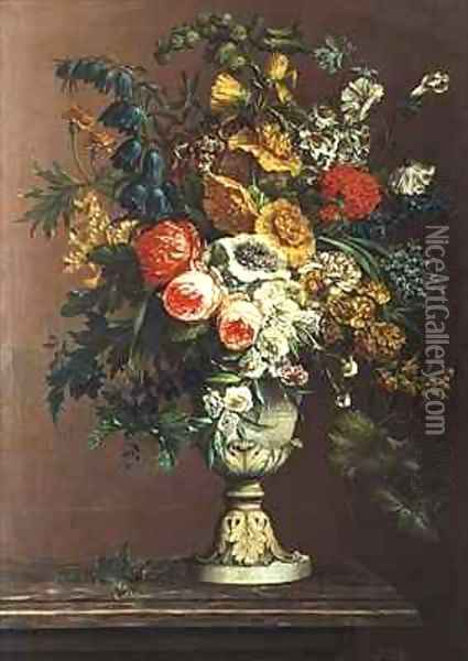Still Life of Flowers in a Classical Vase Oil Painting - J. Buiterveld