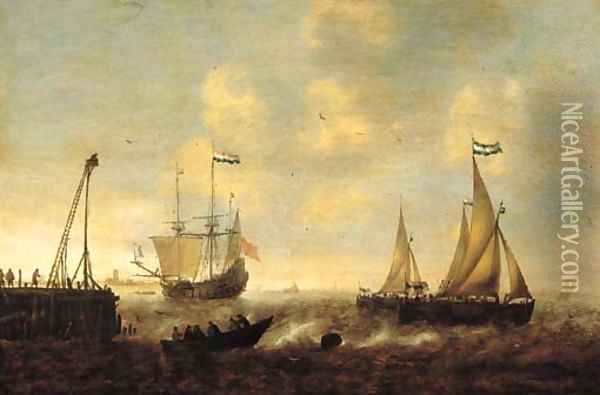 Smallships, a threemaster and a pink on a river by a jetty in a stiff breeze, a town in the distance Oil Painting - Jacob Adriaensz. Bellevois