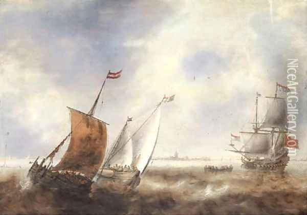 Two smalschips in stormy waters with a Dutch Man of War off the coast of a town Oil Painting - Jacob Adriaensz. Bellevois