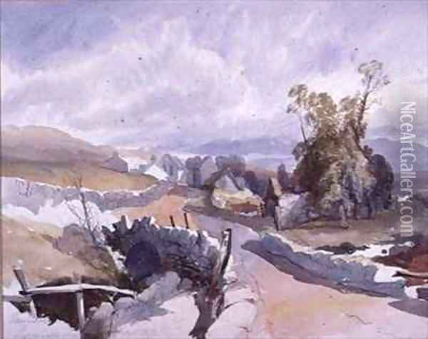 Country Road with Cottages Oil Painting - James Burrell-Smith