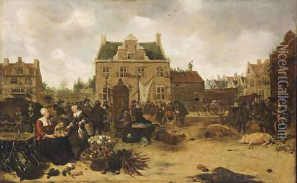 A market scene in a town square Oil Painting - Sybrand Van Beest
