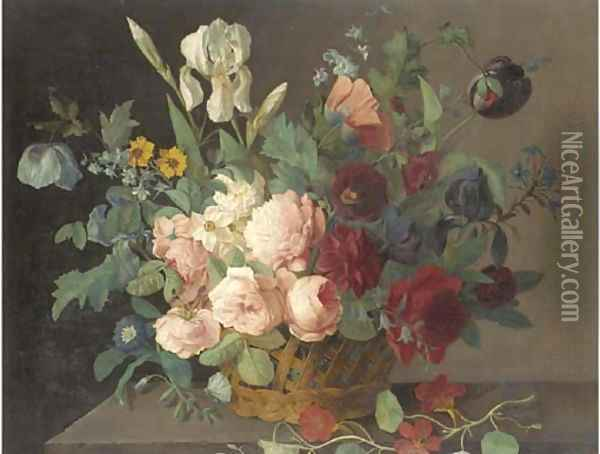 Roses, narcissi, irises, tulips and other flowers in a basket on a stone ledge Oil Painting - Arnoldus Bloemers