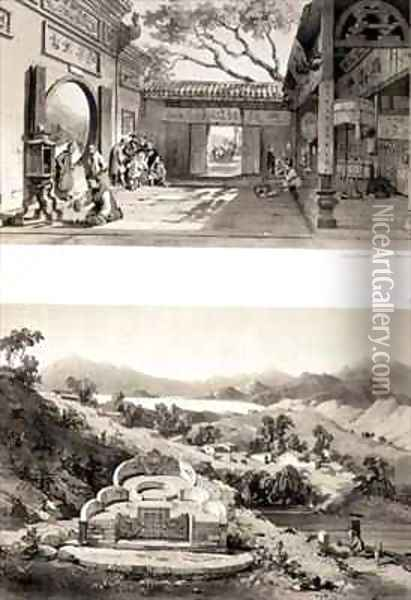 Interior View of the Great Temple at Macao and a Tomb and Village between the Bays of Hong Kong and Cowloon Oil Painting - Auguste Borget