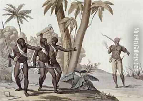 Freed slaves hunting down escaped slaves in Surinam, Guiana Oil Painting - G. Bramati