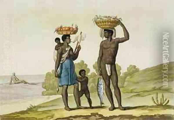 A slave family of the Loango tribe, Surinam Oil Painting - G. Bramati
