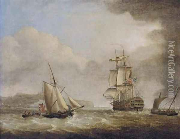 A British Royal Naval two-decker in the Channel off Dover Oil Painting - Charles Brooking