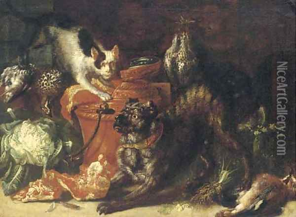 A dog and a cat in a kitchen interior with game and vegetables Oil Painting - Felice Boselli