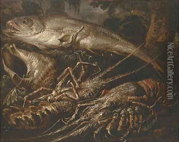 Two lobsters, a salmon and shells on a forest floor Oil Painting - Felice Boselli