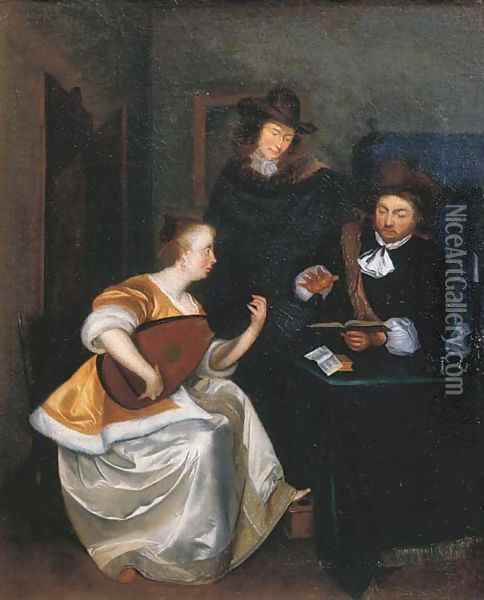 A woman playing the theorbo accompanied by two gentlemen, in an interior Oil Painting - Gerard Ter Borch