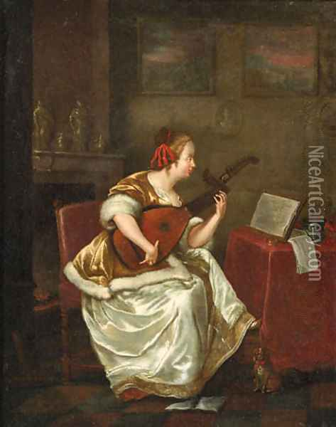 A woman, seated by a table in an interior, playing the lute Oil Painting - Gerard Ter Borch