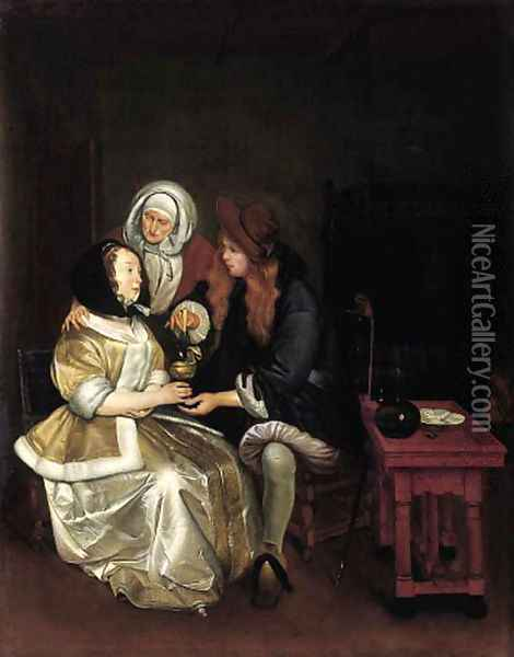 An elegant couple attended by a procuress Oil Painting - Gerard Ter Borch