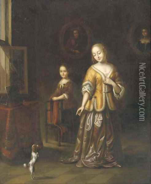 A lady in an elegant interior with a dog and a maid Oil Painting - Gerard Ter Borch