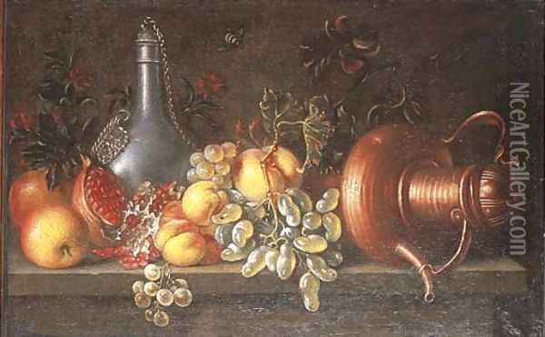 An upturned copper teapot, a pewter flagon and fruit on a ledge Oil Painting - Johannes Bouman