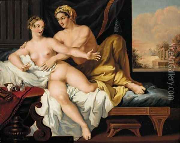An amorous couple in an interior Oil Painting - Louis Leopold Boilly