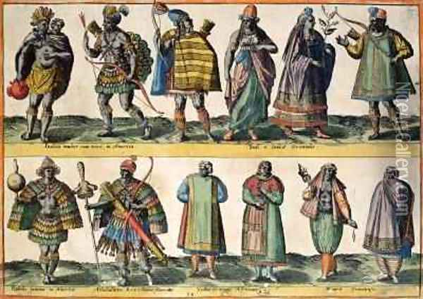 North American Indians, Indian and Oriental Costumes, South American Indians and African and Moorish Costumes, from 'Costumes of Different Nations of Europe, Asia, Africa and America' Oil Painting - Abraham de Bruyn