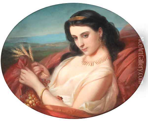 A young reclining beauty swathed in a robe Oil Painting - Constant Joseph Brochart
