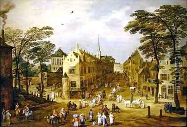 A view of a Flemish street with townsfolk and waggoners Oil Painting - J. & Momper, J.de Brueghel
