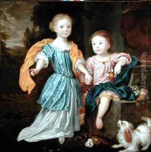 Portrait of a Young Girl and Boy, said to be the children of Sir William Reynolds Lloyd Oil Painting - Robert Byng or Bing