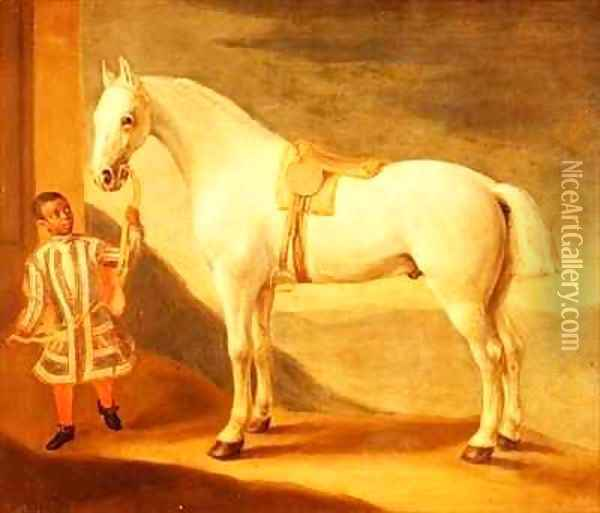 Carpenter , Lord Craven's favourite grey hunter, held by a negro page Oil Painting - Robert Byng or Bing