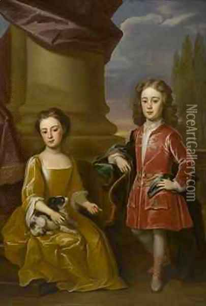 Double portrait of Dudley North and his sister, Anne Oil Painting - Robert Byng or Bing