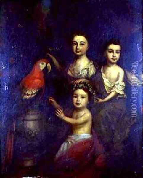 Portrait of Three Children with a Macaw Oil Painting - Robert Byng or Bing