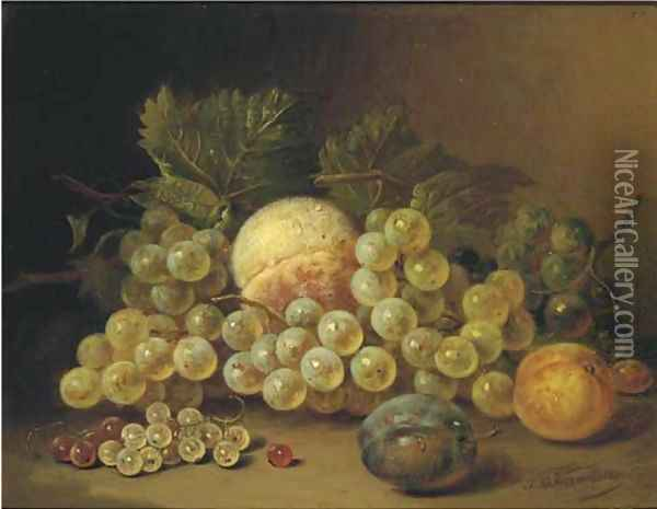 Still life with fruits on a ledge Oil Painting - Sebastiaan Theodorus Voorn Boers
