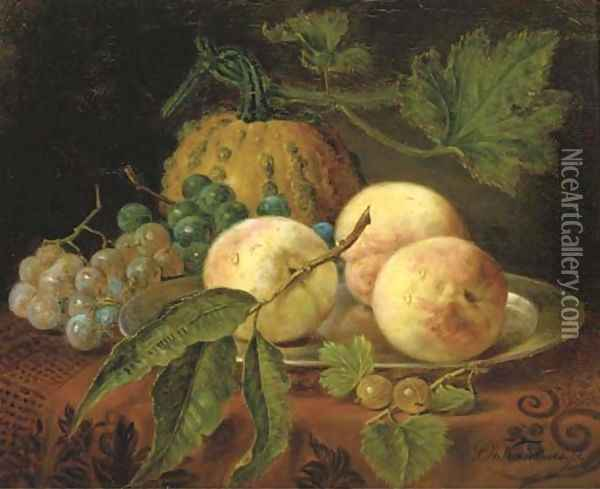 Peaches, grapes and a pumpkin on a table Oil Painting - Sebastiaan Theodorus Voorn Boers