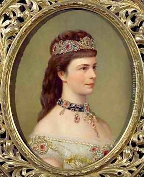 Portrait of the Empress Elizabeth of Austria (1837-98), wife of Franz Joseph (1830-1916) Oil Painting - Theodor Breidwiser or Breitwieser
