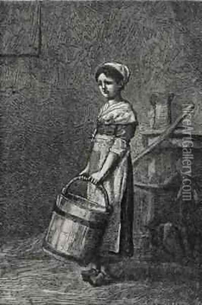 Cosette Carrying a Bucket Oil Painting - Brion, Gustave