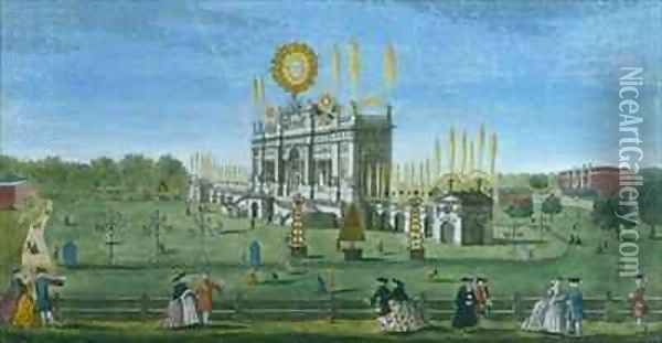 A Perspective View of the Building for the Fireworks in the Green Park, taken from the Reservoir Oil Painting - Brookes, Richard