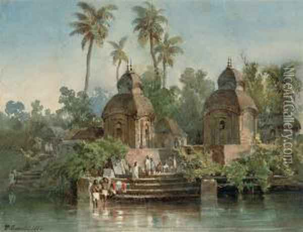 An Indian Village On The Banks Of A River With Figures Washing At The Ghats Oil Painting - Abraham Louis Buvelot