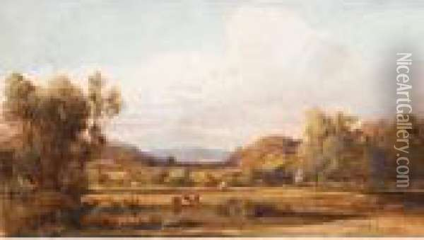 Landscape With Cattle, Victoria Oil Painting - Abraham Louis Buvelot