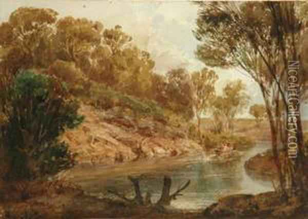On The Yarra Near Survey Oil Painting - Abraham Louis Buvelot
