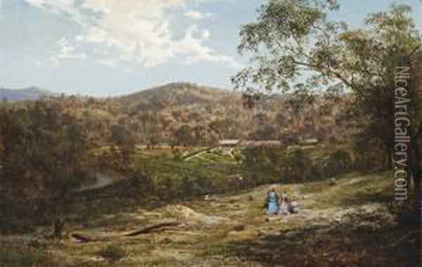 Tubbutt Homestead In The Bombaladistrict Oil Painting - Abraham Louis Buvelot