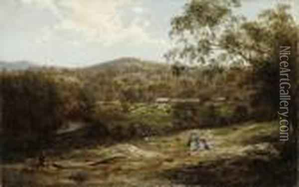 Tubbutt Homestead In The Bombala District, In The Foothills Of The Snowy Mountains Oil Painting - Abraham Louis Buvelot
